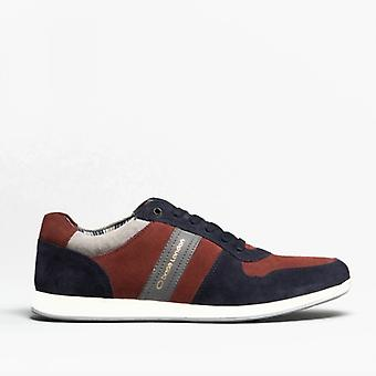 Base London Eclipse Mens Suede Trainers Navy/bordo