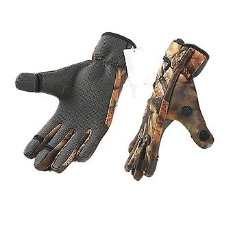 Outdoor Winter Fishing Three Or Two Fingers Cut Anti-slip Climbing Glove