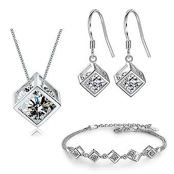 925 Sterling Silver Geometric Square Jewelry Sets