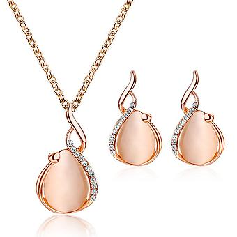 Women Elegant Rhinestone Pendant Necklace Hook Earrings Jewelry Set