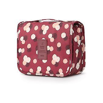 Bolso de baño y bolsa de maquillaje con bolsillos interiores Borgoña / Flores