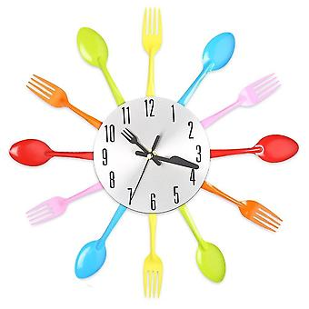 Multi-color Fork Spoon Cutlery Wall Clock