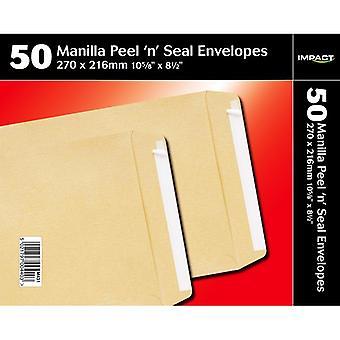 Impact 270x216mm Peel N Seal Manilla Enveloppes Pack