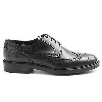 Zapato de hombre Sangiorgio cuero negro con pinchazos
