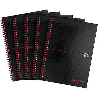 Oxford Black n' Red, A4 Notebook Hardcover, Glossy, Wirebound,Lined & Perforated