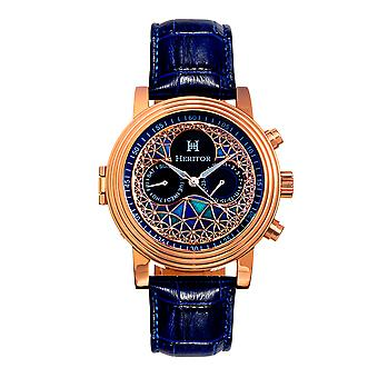 Heritor Automatic Legacy Leather-Band Watch w/Day/Date - Rose Gold/Blue