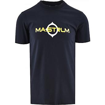 MA.STRUM Navy Short Sleeve Logo Print T-Shirt