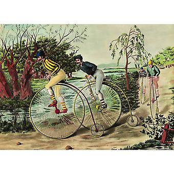 La stampa di Poster di Penny-Farthing gara privata collezione C358 rotocalco corso De Grand Bi Coll parte di incisione