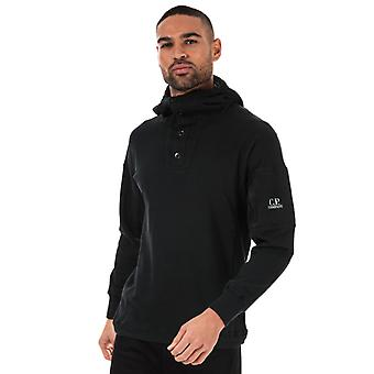 Men's C.P. Company Button Hoody in Black