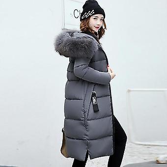 Winter Jacket Women, Down Coat Female, Long, Slim Solid Color, Zip Fur Collar