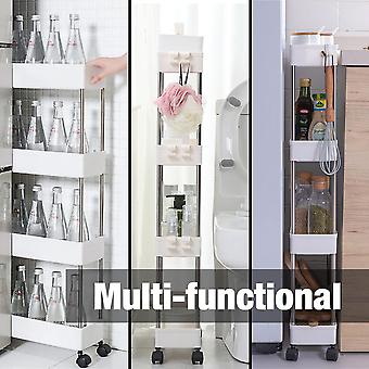 Modern Home 4 Tier Narrow Sliding Storage Organizer Rack - Laundry/Bathroom/Kitchen Rolling Cart - Customizable Wheeled/Countertop Utility Cart