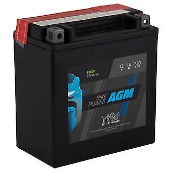 intAct YTX16-BS Maintenance Free AGM Bike-Power Battery