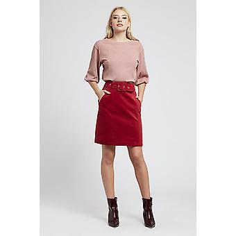 Louche Womens Amir Belted Cord Mini Skirt Burgundy