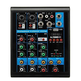 4 Channel USB bluetooth Audio Mixer Sound Card Mixing Console US Plug