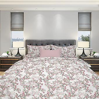 Komplettbett Aster Farbe Rosa, Weiß, Grün in Baumwolle, L150xP280 cm, L90xP195, L50xP80 cm