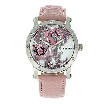 Bertha Betsy MOP Leather-Band Ladies Watch - Silver/Pink