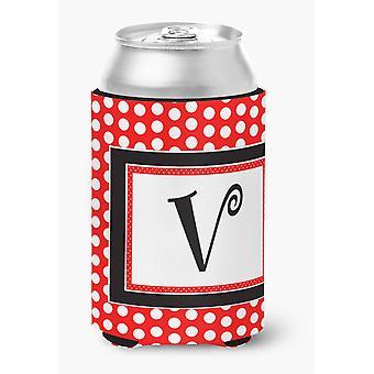 Ersten Buchstaben V Monogramm - rot schwarz Polka Dots Dose oder Flasche Getränk Isolator Hugger