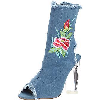 Penny Loves Kenny Womens Roadie Fabric Peep Toe Mid-Calf Fashion Boots