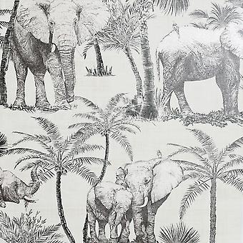 Artistick Elephant Grove Selvklæbende Tapet Trækul Arthouse 300206 6m x 0.53m