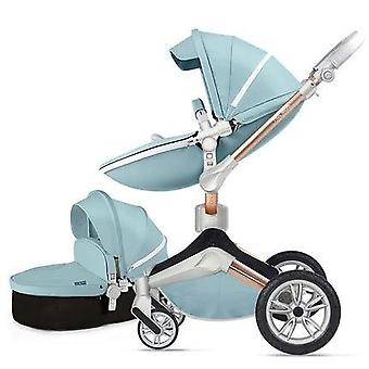 Hot Mom High Landscape 360-degree Rotation, Pu Leather Baby Stroller