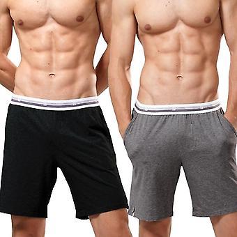 パンツ 2パック スリープ ショーツ メン パジャマ ショートパンツ コットン モーダル 通気性パンツ