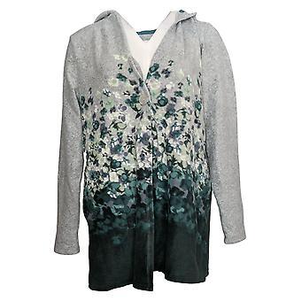 Cuddl Duds Women's Sweater Fleecewear Floral Hooded Wrap Green A381710