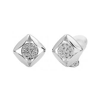 Traveller Clip Earrings Rhodium Plated With Crystals From Swarovski 10x10mm - 157170 - 680