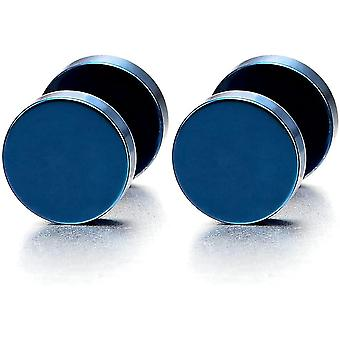 8MM Blau Kreis Herren Damen Ohrstecker Ohrringe Fake plugs Ohr Cheater Tunnel Gauges Ohr-Piercing