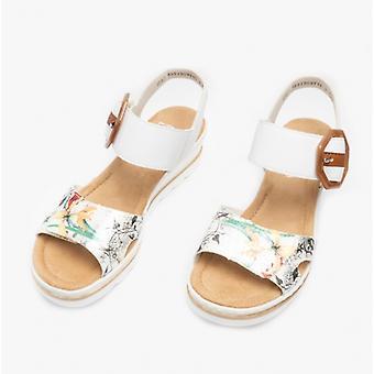Rieker 67478 Ladies Wedge Heel Sandals White/multi