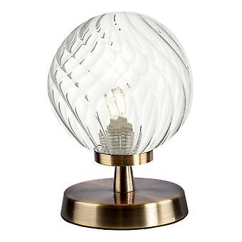 Touch tafellamp antiek messing met gedraaid glas