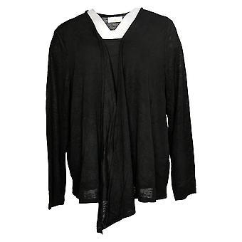 Belle por Kim Gravel Women's Sweater Plus Knit Duet Cardigan Black A378622