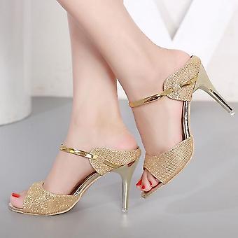 קיץ נשים משאבות עקבים קטנים נעלי חתונה סטילטו גבוה פיפ עקב סנדלים