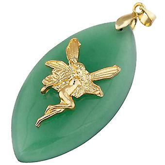 KYEYGWO - Collana da Donna con Ciondolo a Forma di amuleto in Pietra Naturale Lucida e Lega, Colore: Gruner Aventurin(Elf Oval Ref. 0715444084959