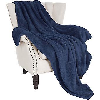 FengChun Waffel Flanell Fleece große Werfen Decke (127 x 178 CM, Marineblau) - weich, leicht,