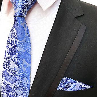 Light blue paisley necktie & pocket square set