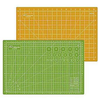 45*30Cm green+yellow cutting pad a3 double-sided cutting pad 45 * 30cm non-slip medium knife pad out of grid board pvc cutting pad az22213