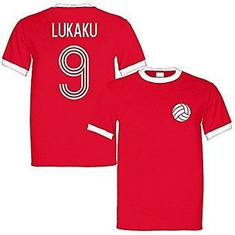 Sporting empire romelu lukaku 9 belgium legend ringer retro t-shirt red/white - small
