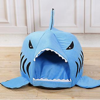 Blue 42x37cm cute funny shark shape pet kennel warm dog house dog-hole cat kennel homi2518