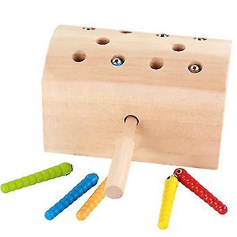 Trämagnetiska insektsfångstleksaker, interaktiv leksak för föräldrar och barn, förbättrad hand-eye