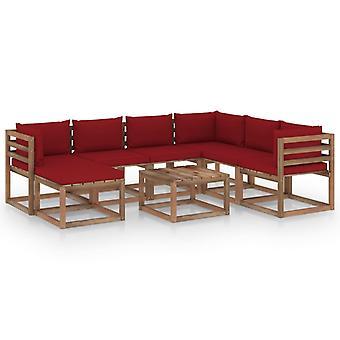 vidaXL 8-tlg. Garten-Lounge-Set mit Kissen Weinrot