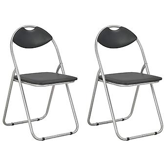 vidaXL Folding dining chairs 2 pcs. Black leatherette