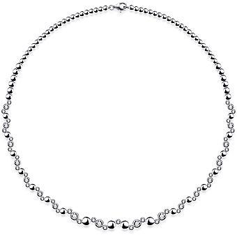 Gisser Jewels - Halsband - Choker Round Fantasy Link set med Zirconia i Glad konvertering - 6mm Bred - Längd 42cm - Homostered Silver 925