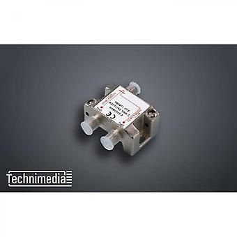 Technimedia Indoor Satellite Antenna Splitter 1 To 2 - Female Socket - Dc Passage