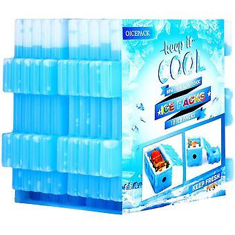 Jääpakkaus lounaslaatikkoon - uudelleenkäytettävät pakastinjääpakkaukset jäähdytyslavoille - Slim Long - Kestävät viileät pakkaukset lounaspusseille ja viileämmille pusseille - 10 - Siniset