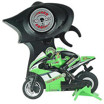 Electric Mini RC Moottoripyörä Radio-ohjattu 2,4 GHz Kilpamoottoripyörä Lapset Lelu Pojat Aikuiset (Vihreä)