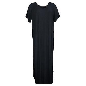 Colleen Lopez Petite Dress AnyWEAR Maxi Dress Short Sleeves Black 741125