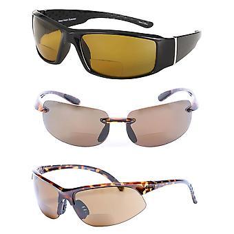 &Allstars Časť II& 3 Pár našich polarizovaných bifocal športové wrap Unisex slnečné okuliare - Korytnačka / noc - 3,00