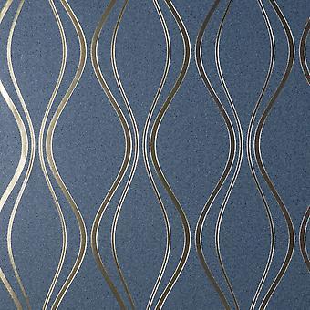 Vymura Foil Platinum Contour Wave Blue Wallpaper FD42801