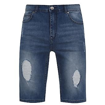 Fabric Mens Denim Shorts Distressed Detail Wash Effect Casual Jeans Bottom