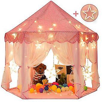 55'' X 53'' Принцесса Палатка с большими звездными огнями Детский замок Игровая палатка